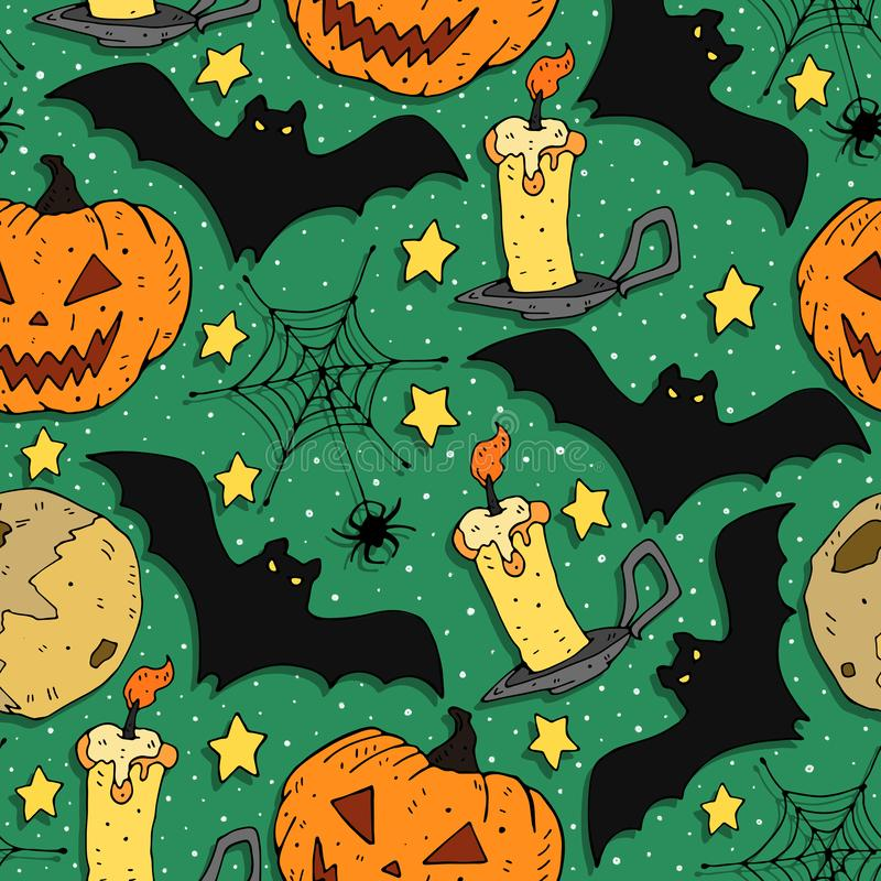 Cartoon colorful seamless festive pattern with pumpkin, bat, candle, moon, decorative elements on a neutral background. vector. Ha royalty free illustration