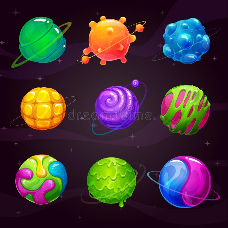 Cartoon colorful slime planets set. Fantasy alien slimy planet on the space background. Vector cosmic GUI assets pack vector illustration