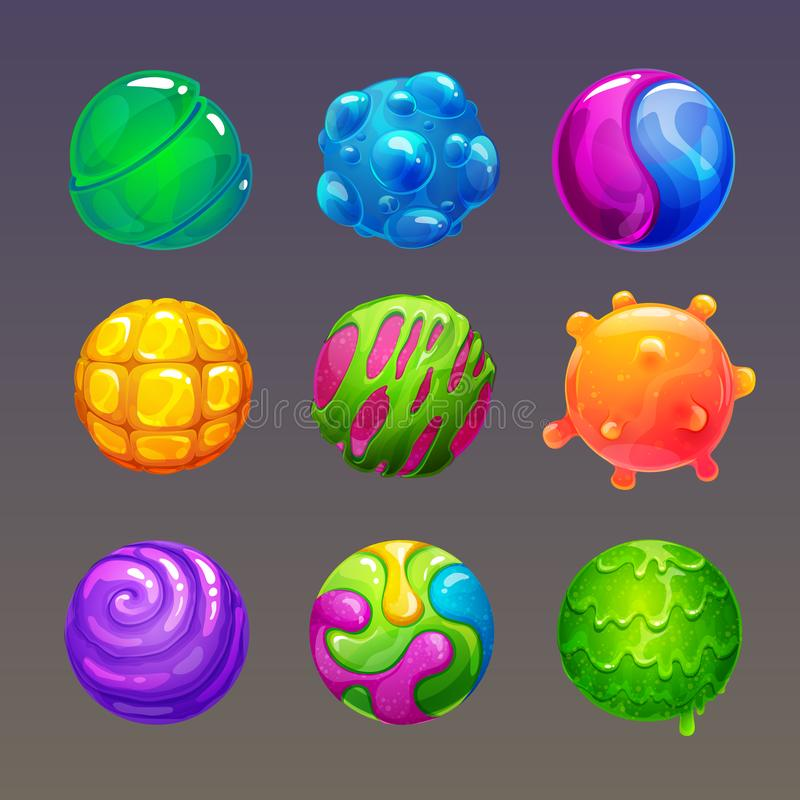 Free Cartoon Colorful Slimy Balls. Funny Slime Bubbles For Game Design. Stock Image - 161381801