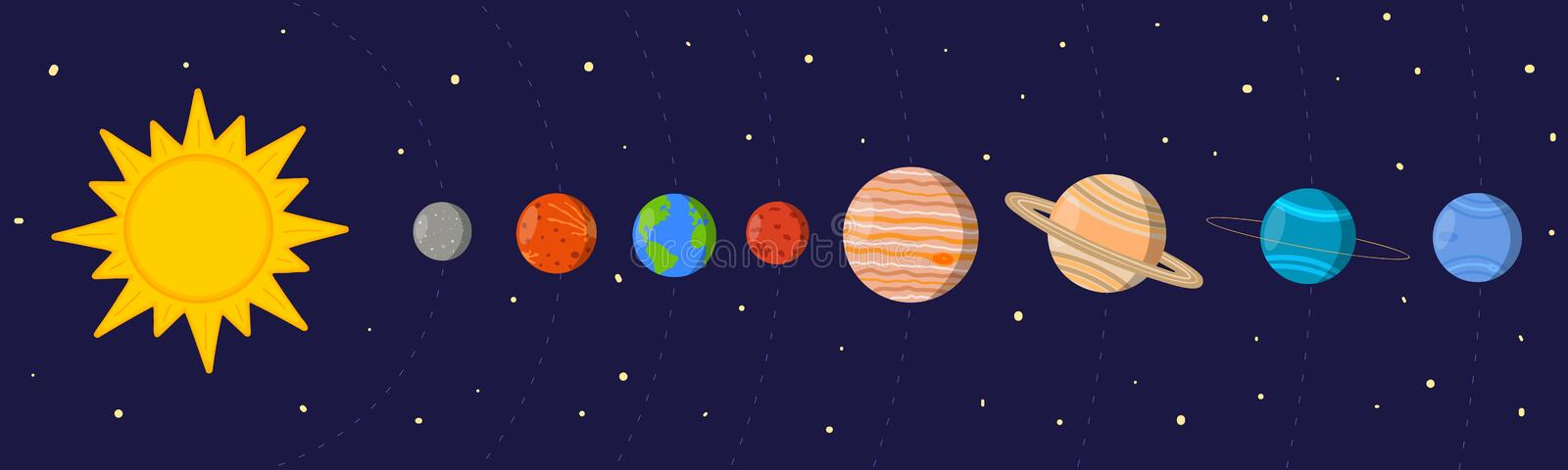 Cartoon Colorful Solar System Sun And Planets In Their Orbits On Space Background Vector Illustration For Kids Stock Vector Illustration Of Science Neptune 202236121