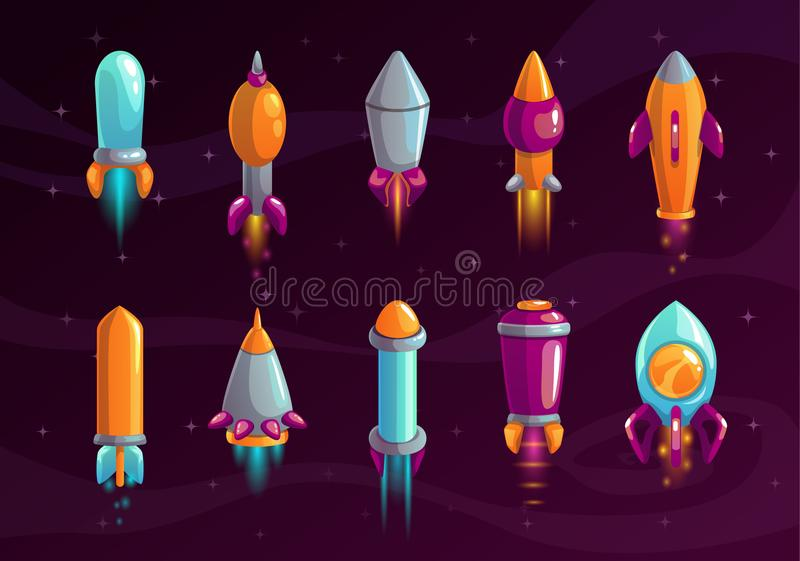Cartoon colorful space missile set. Rocket shell assets for alien war game design. Vector icons on the cosmic background royalty free illustration
