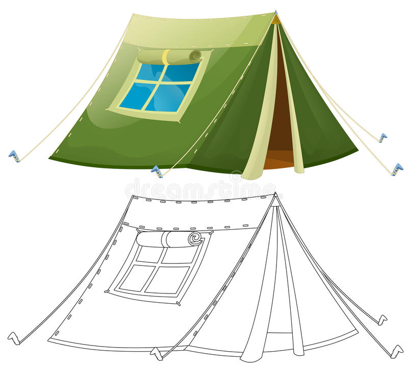 Cartoon Colorful Tent - With Coloring Page - Isolated Stock ...