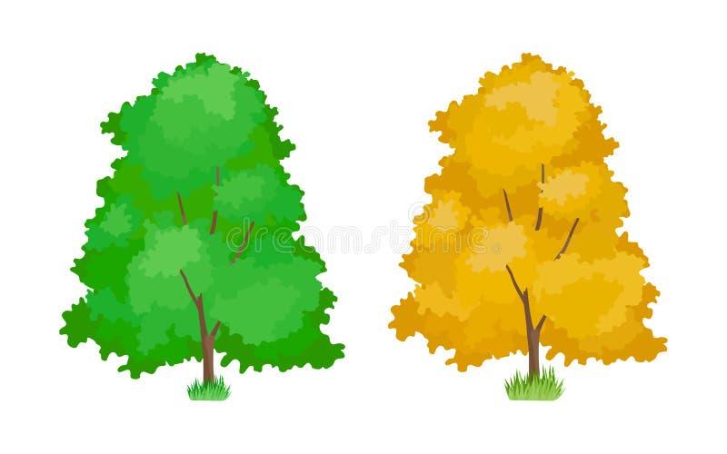 Cartoon colorful trees. Cute woody plants, green, yellow aspen trees. royalty free illustration