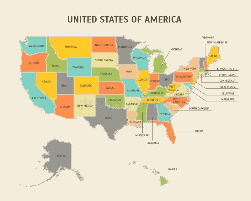 Cartoon Colorful USA Map Card Poster. Vector royalty free illustration