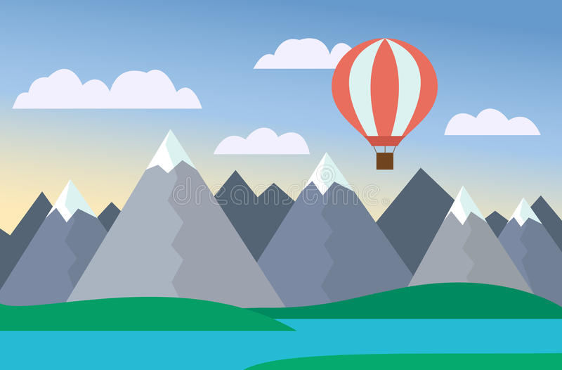 Cartoon colorful vector illustration of mountain landscape with lake and hill under blue sky with clouds and hot-air balloon. Cartoon colorful vector royalty free illustration