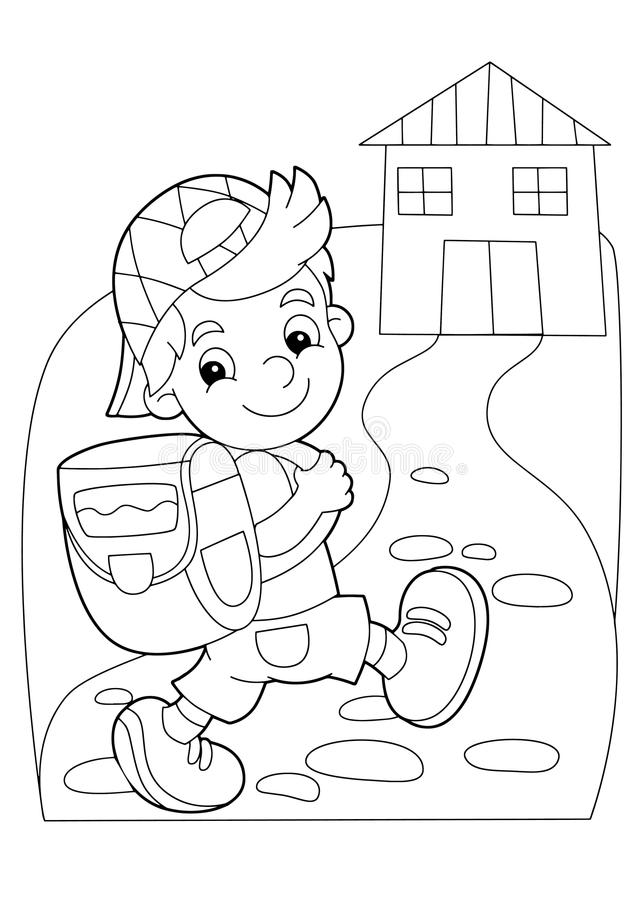 Cartoon Coloring Page Boy Going To School Or Getting