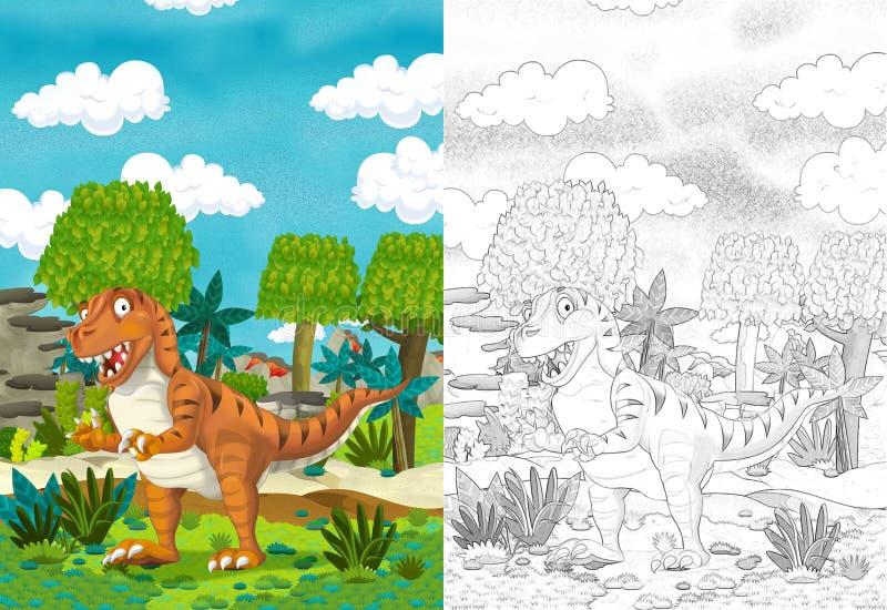Cartoon com dinossauro como tiranossauro ou raptor na selva ilustração do vetor