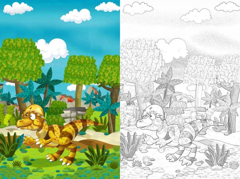 Cartoon com dinossauro como tiranossauro ou raptor na selva ilustração stock
