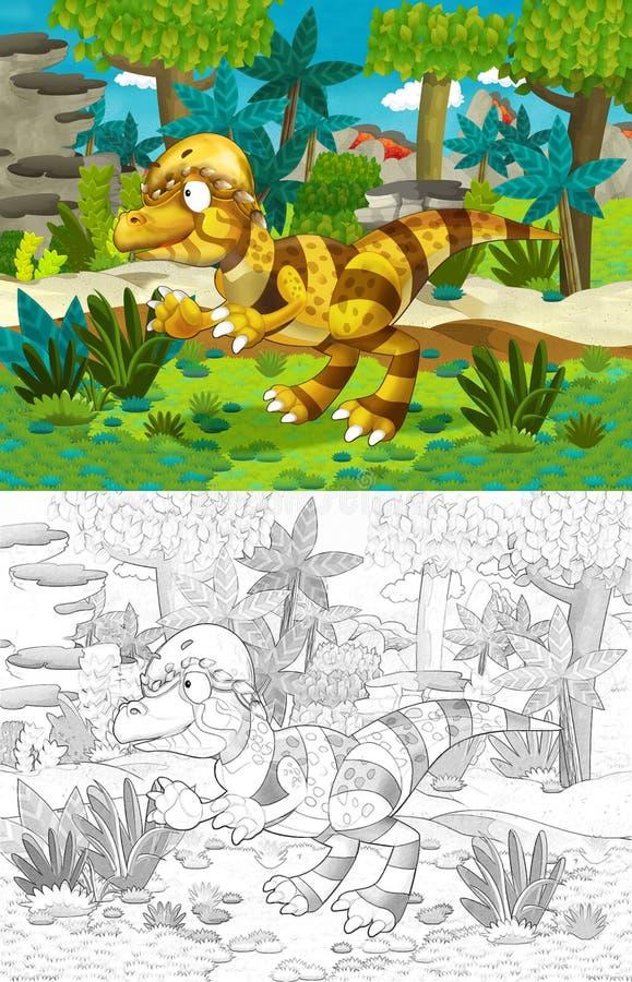 Cartoon com dinossauro como tiranossauro ou raptor na selva ilustração royalty free