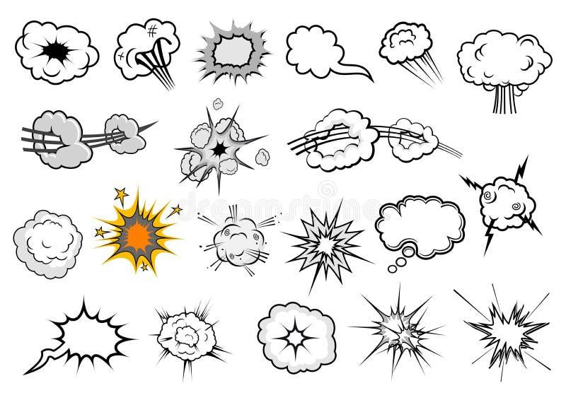 Cartoon comic explosion and speech elements stock illustration