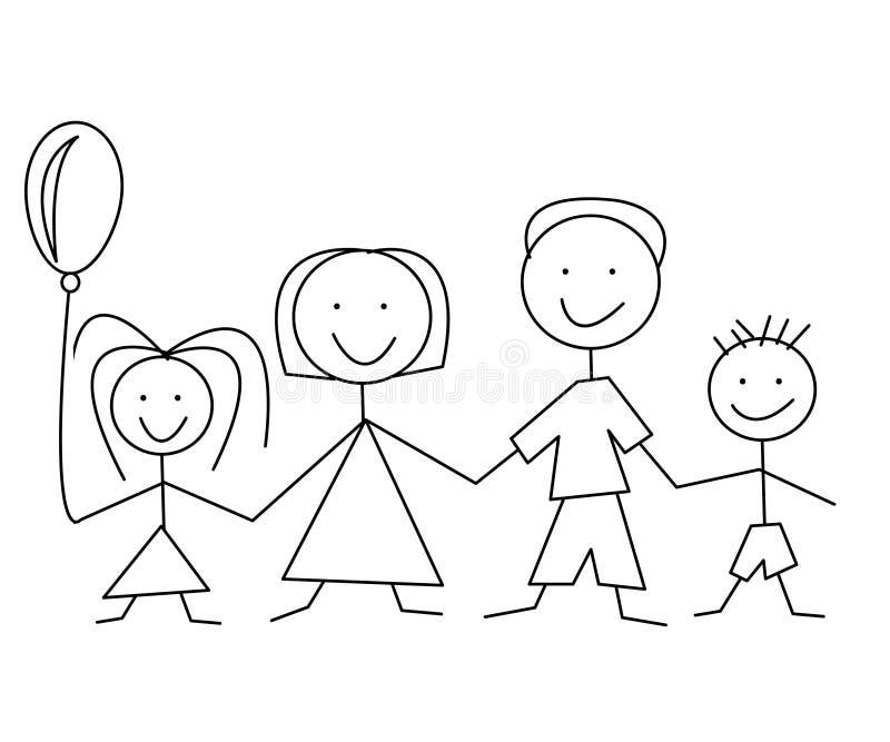 Cartoon comic family. On the white background stock illustration