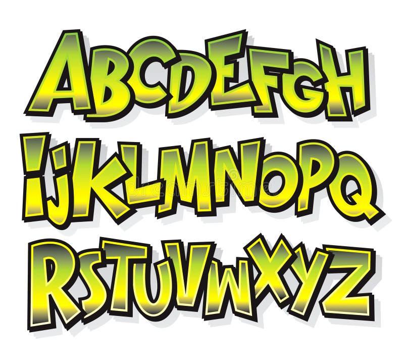 Cartoon comic font alphabet. Vector royalty free illustration