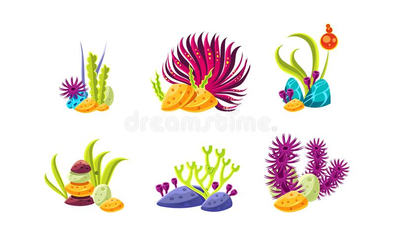 Cartoon compositions with fantasy seaweed and stones. Marine plants. Sea and ocean life. Flat vector set stock illustration