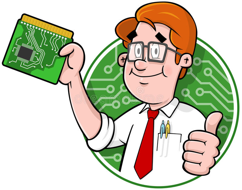 Cartoon computer support logo. Cartoon computer technician with circuit board Comes in an easy edit layered illustrator CS file vector illustration