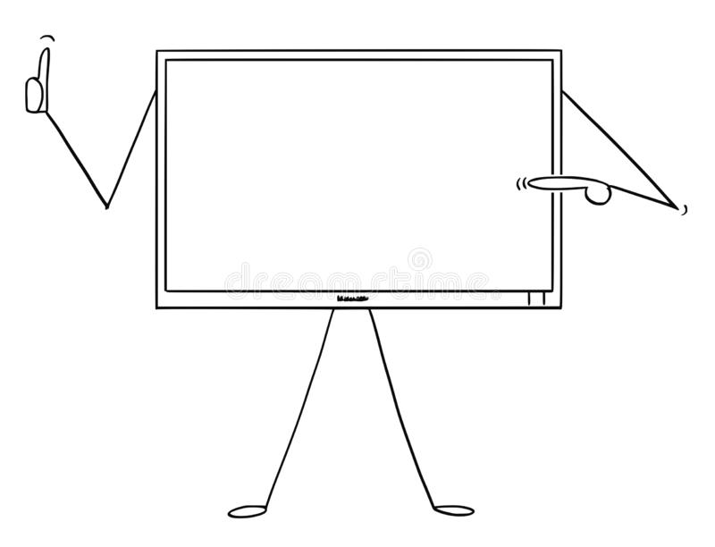 Cartoon of Computer or TV or Television Monitor Character Pointing at Yourself and Showing Thumb Up stock illustration