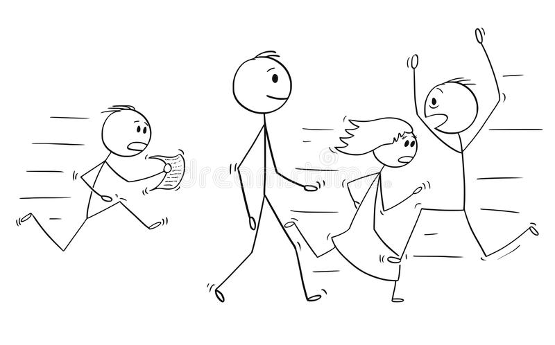 Cartoon of Confident Man or Businessman Walking Slowly With People Hurrying in Stress Around stock illustration