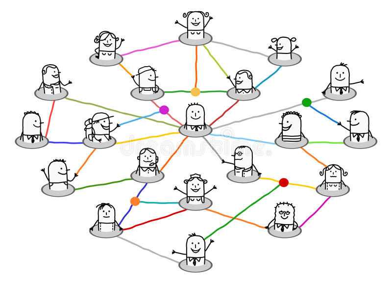 Cartoon connected people on big social network stock illustration