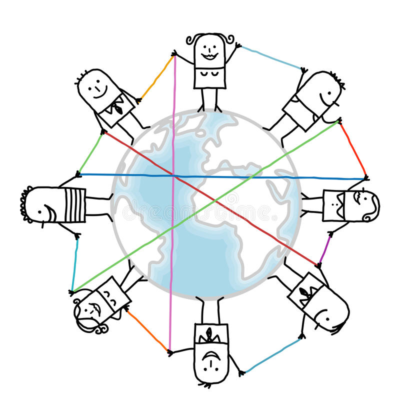 Cartoon connected people on Earth. Vector stock illustration