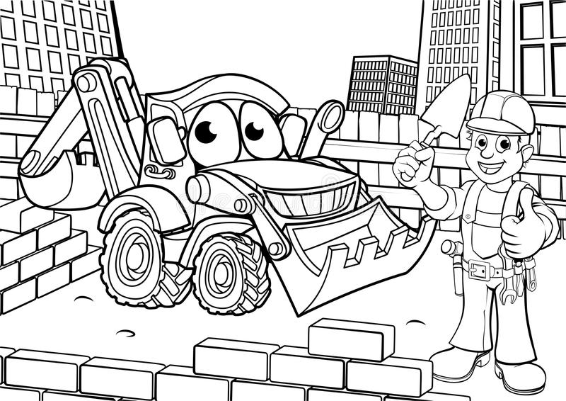 Construction Building Site Scene Coloring vector illustration