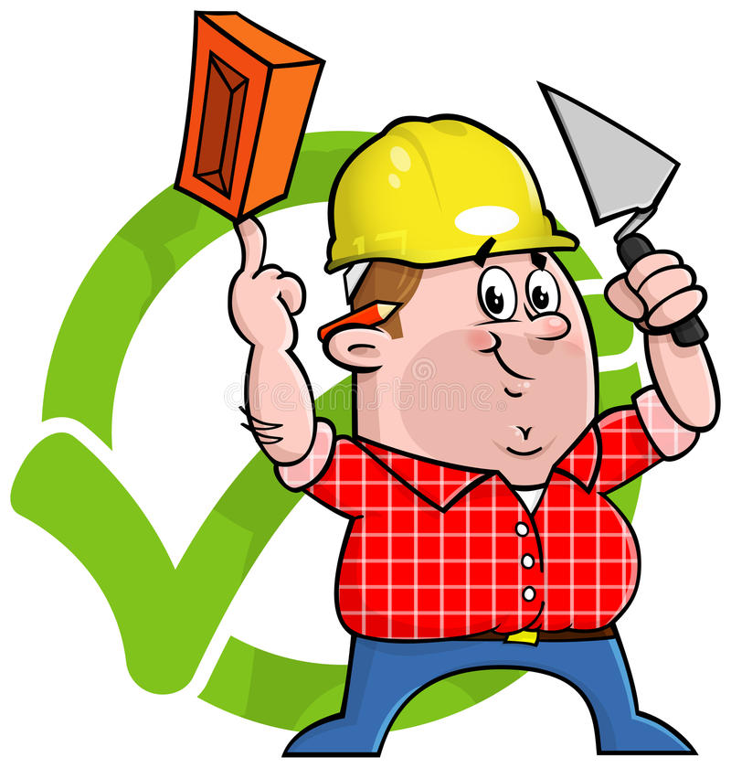 Cartoon construction worker logo. Cartoon construction worker holding a trowel and brick in front of a green tick to symbolize trustworthiness Comes in an easy royalty free illustration