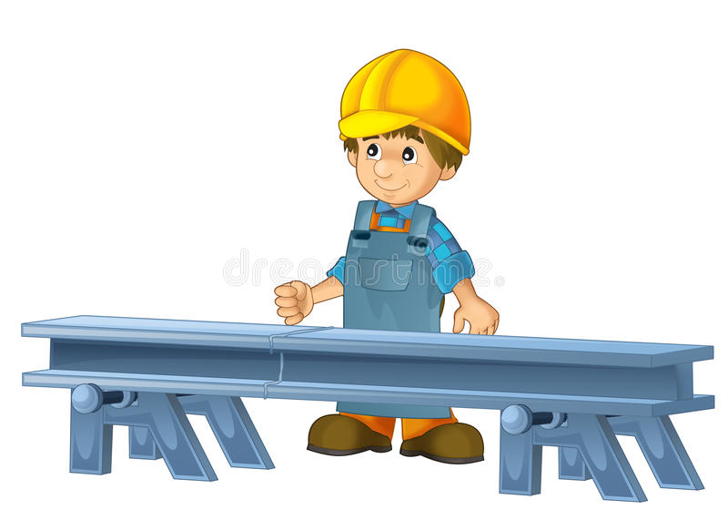 Cartoon construction worker in some additional safety cover standing in front of steel beam. Beautiful and colorful illustration for the children - for different royalty free illustration