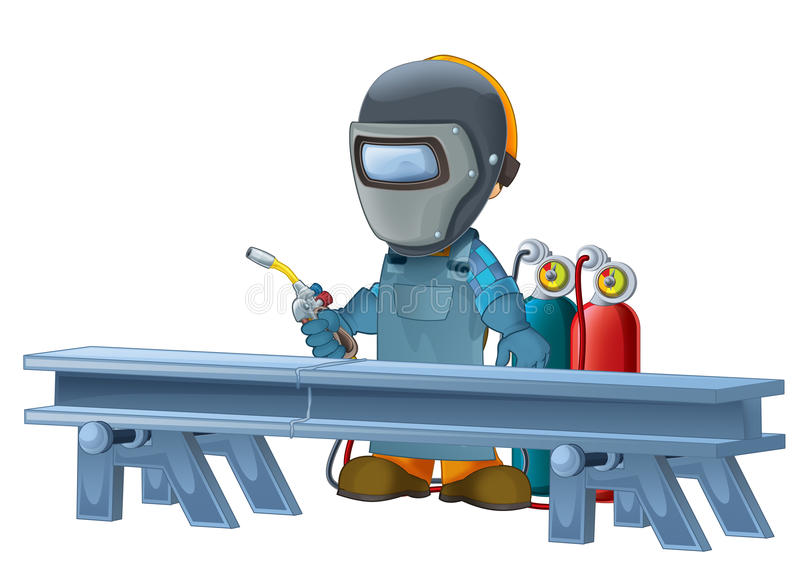 Cartoon construction worker in some additional safety cover standing in front of steel beam. Beautiful and colorful illustration for the children - for different stock illustration
