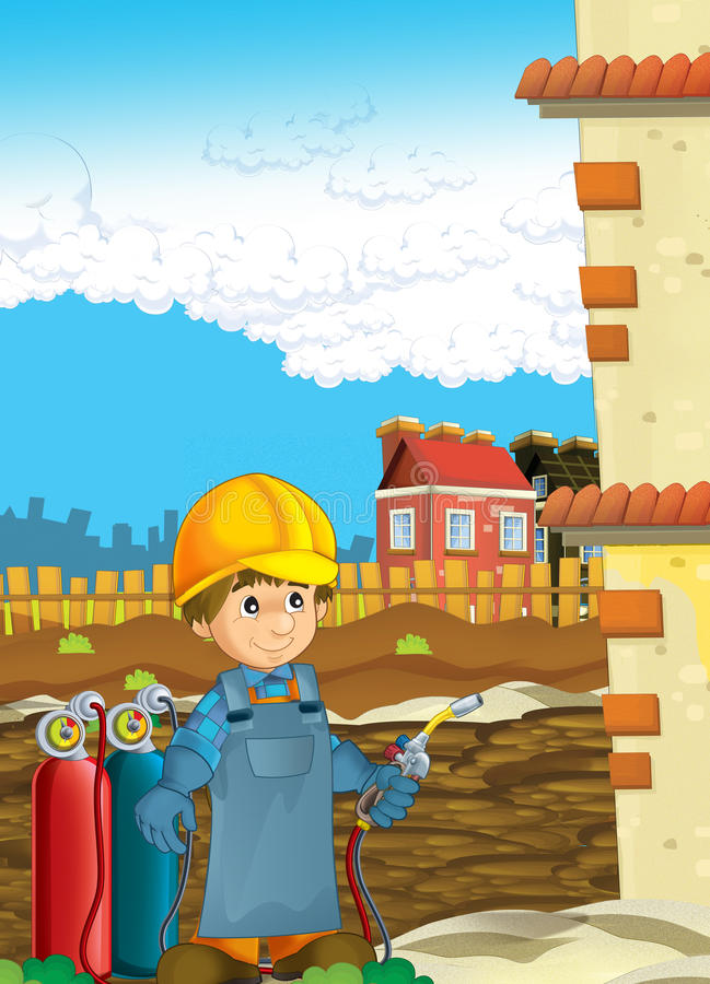 Cartoon construction worker in some additional safety cover welder in mask with a tool on the construction site. Beautiful and colorful illustration for the vector illustration