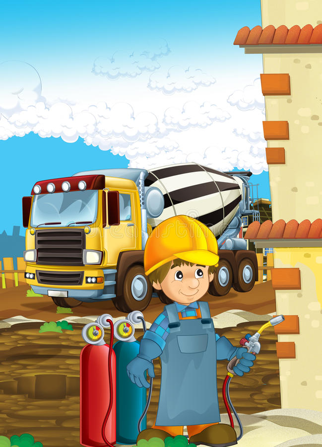 Cartoon construction worker in some additional safety cover welder in mask with a tool on the construction site. Beautiful and colorful illustration for the royalty free illustration