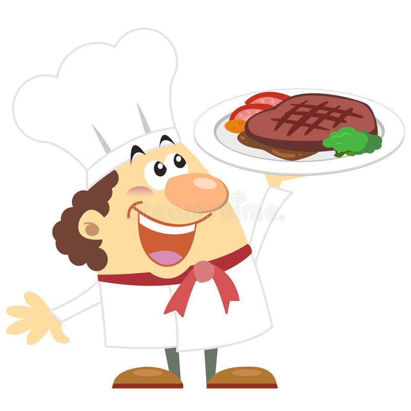 Cartoon Cook With White Background Stock Photos