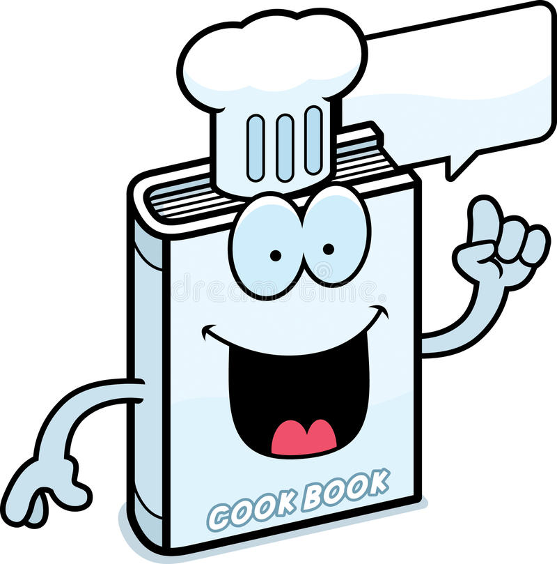Cartoon Cookbook Talking. A cartoon illustration of a cookbook talking royalty free illustration
