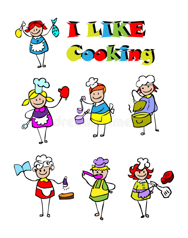 Cartoon cooking icons set, food stock illustration