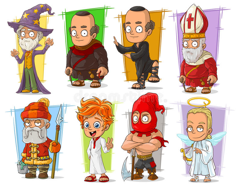 Cartoon cool funny different characters vector set vector illustration