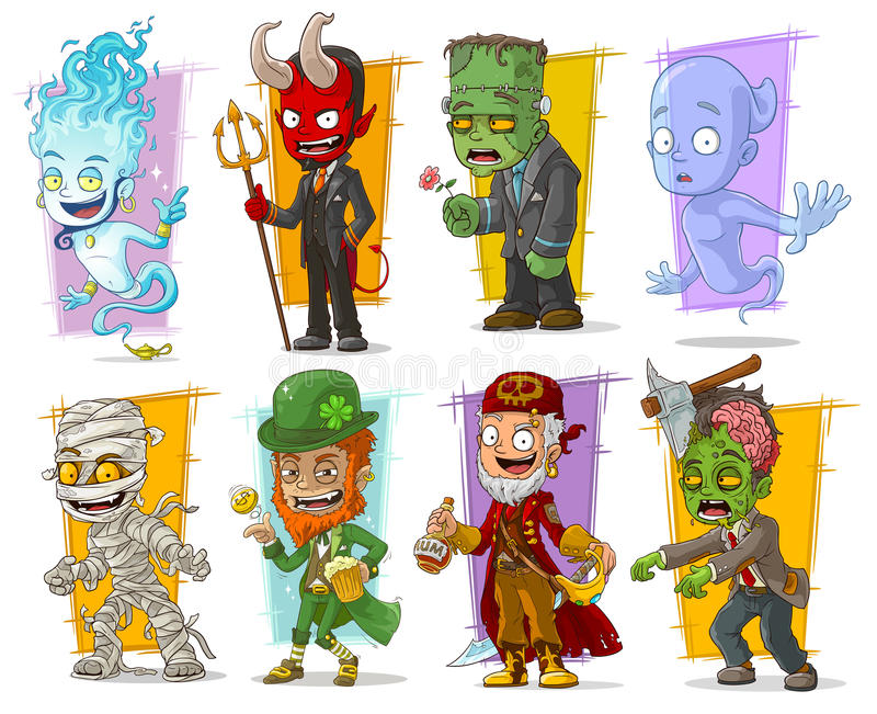 Cartoon cool funny monster characters vector set stock illustration