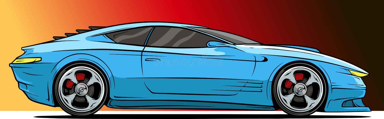 Cartoon cool modern blue sport racing car. Cartoon modern cool blue sport car with silver metal wheel disc on red background. Vector icon royalty free illustration