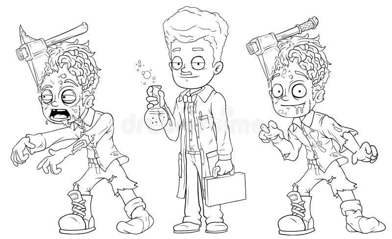 Cartoon cool walking zombie scientist character vector set stock illustration