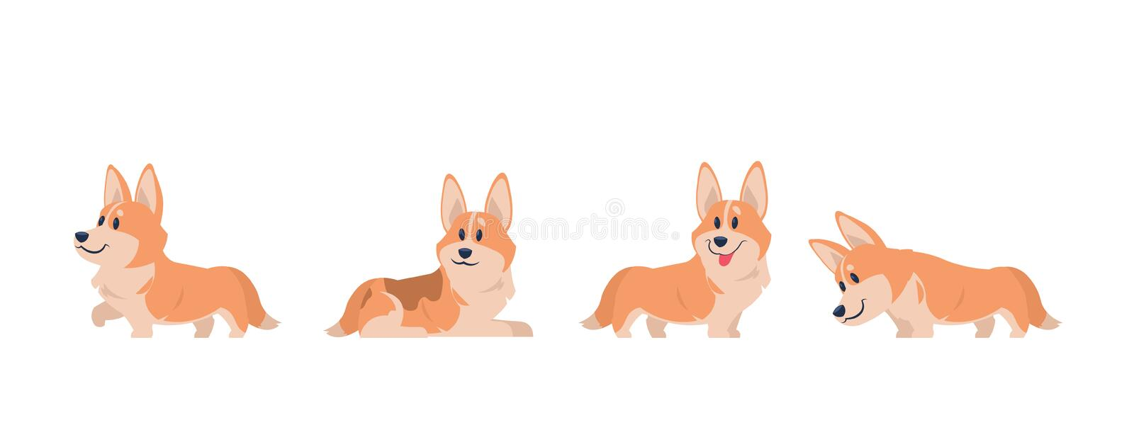 Cartoon corgi. Flat puppy for stickers, postcards, prints and posters, corgi home pet. Vector set of cartoon corgi vector illustration