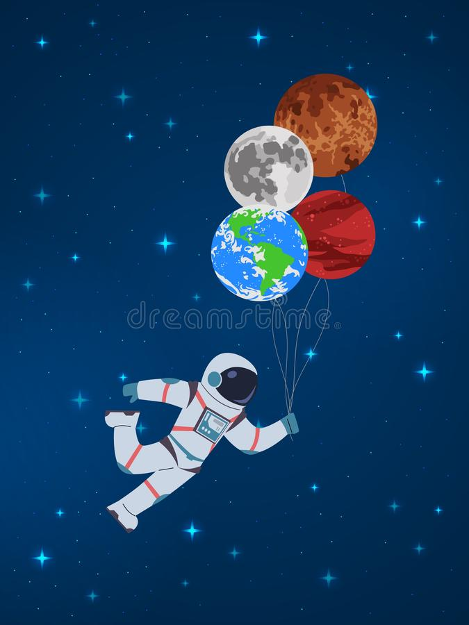 Cartoon cosmonaut with planets. Funny character astronaut holds in hand abstract sky planet balloons vector child cute stock illustration