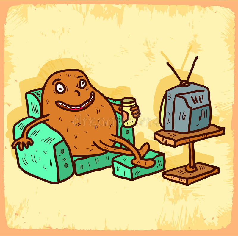 Cartoon Couch Potato Illustration , Vector Icon. Stock