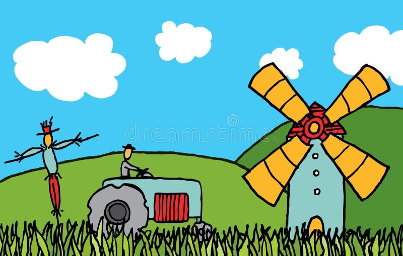 Cartoon country field royalty free illustration