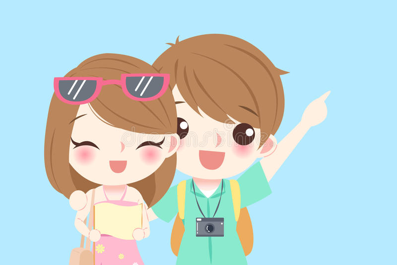 Cartoon couple go to travel vector illustration