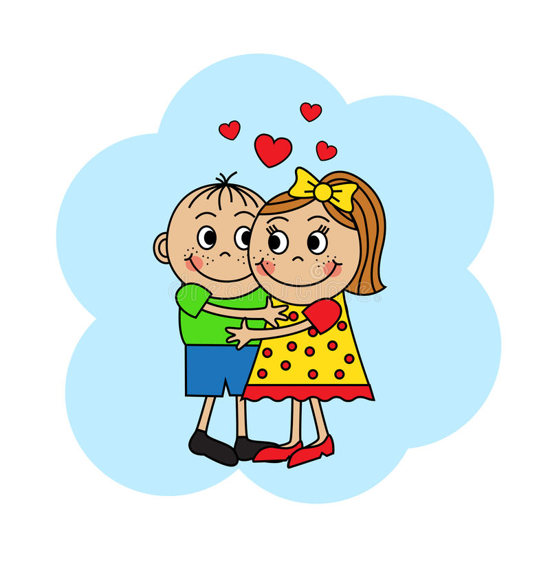 Cartoon couple hugging children vector illustration