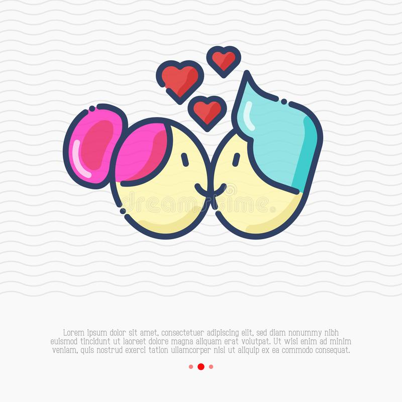 Cartoon couple is kissing and smiling. Thin line vector illustration of marriage and happiness for greeting card vector illustration