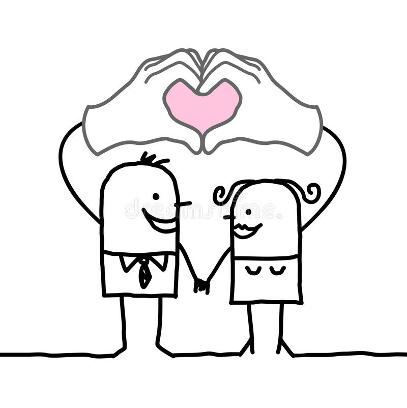 Cartoon couple making heart sign with their hands royalty free illustration