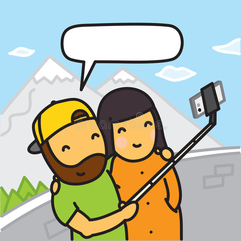 Cartoon couple making photo using smartphone and selfie stick vector illustration vector illustration