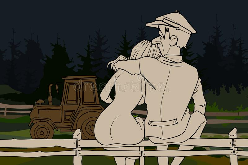 Cartoon couple man and woman hugging sitting next to a tractor royalty free illustration