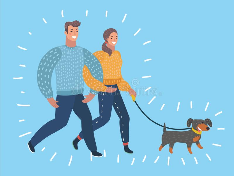 Cartoon couple walking dog. Vector cartoon illustration of couple walking dog. Characters in modern style on blue background royalty free illustration