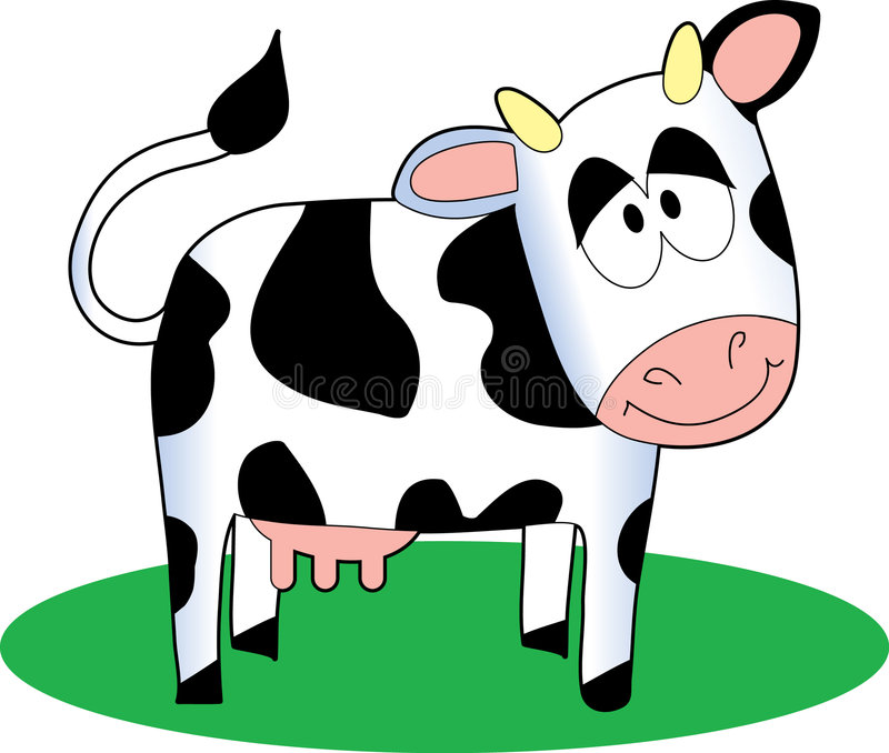 Cartoon Cow. Funny cartoon cow standing on a patch of grass royalty free illustration