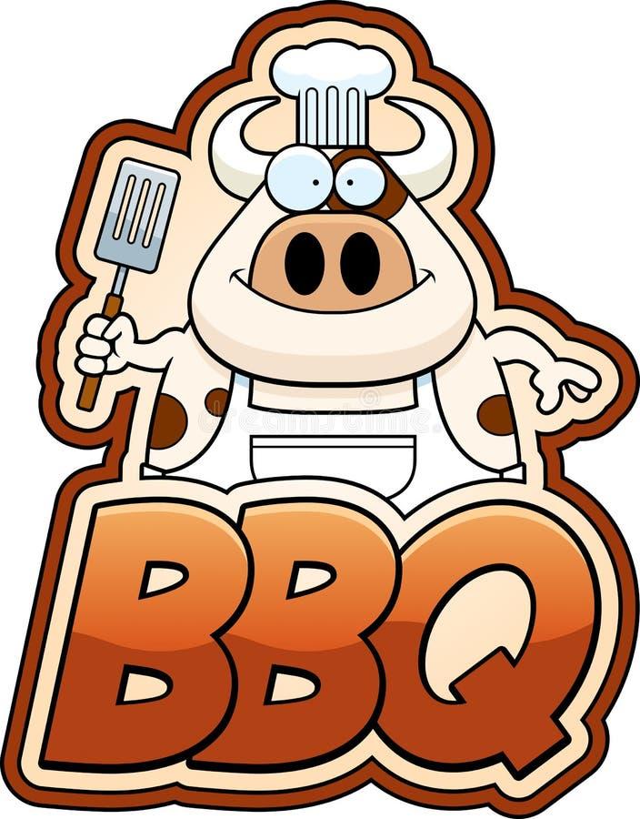 Cartoon Cow and BBQ Text. A cartoon illustration of a cow chef with bbq text stock illustration