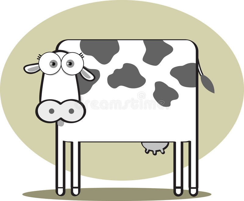 Download Cartoon Cow In Black And White Stock Vector