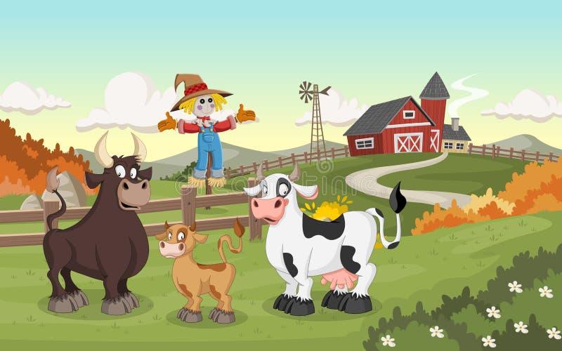 Cartoon cow, calf and bull. stock illustration
